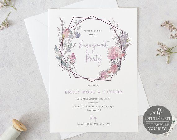 Engagement Party Invite Template 100 Editable Instant Download