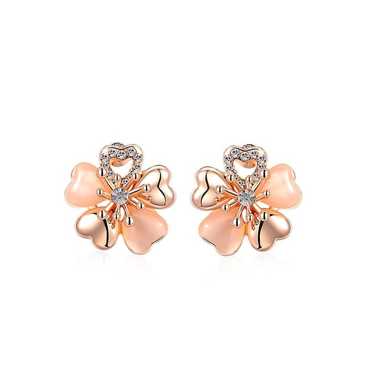 EYS Jewelry Flowers White Glitter Crystal 5mm Titanium Stud Earrings 2U5MDFQ5