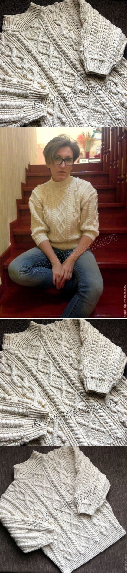 Купить Свитер ВитЛуи - комбинированный, араны, свитер вязаный, свитер женский, свитер с горлом