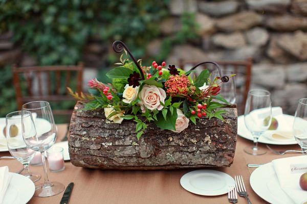 log & flower centerpiece