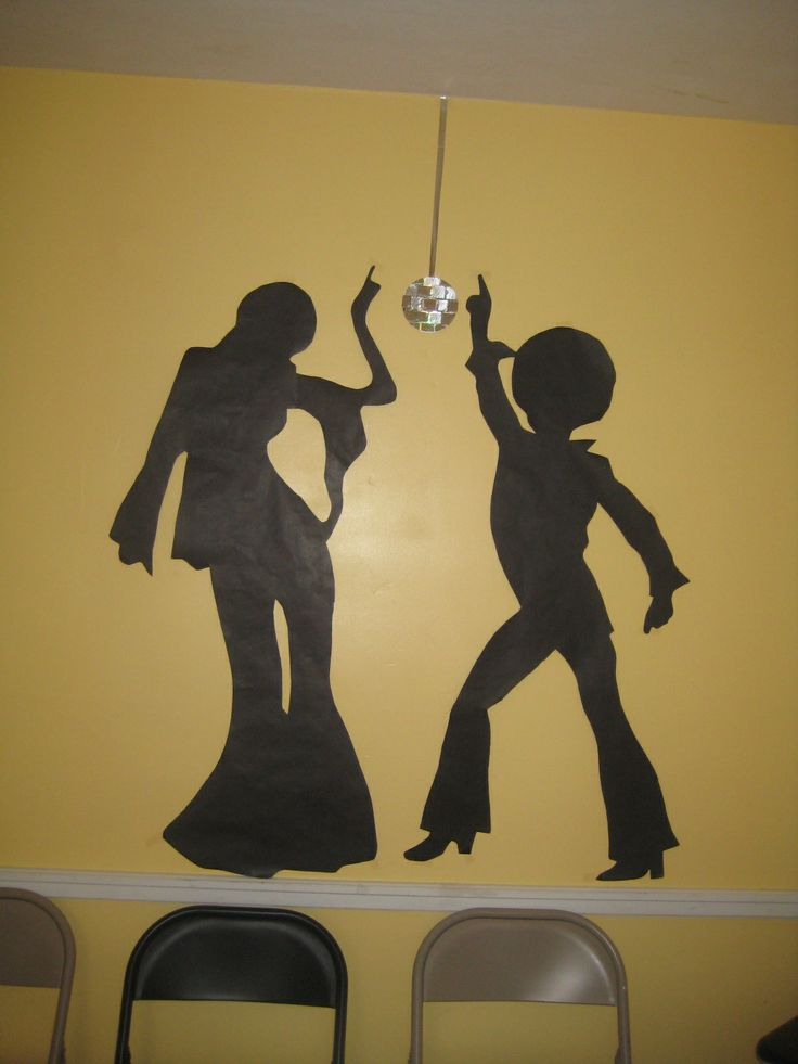 Classroom Decoration Ideas With Paper ~ Disco dancer silhouettes projected on a wall and traced