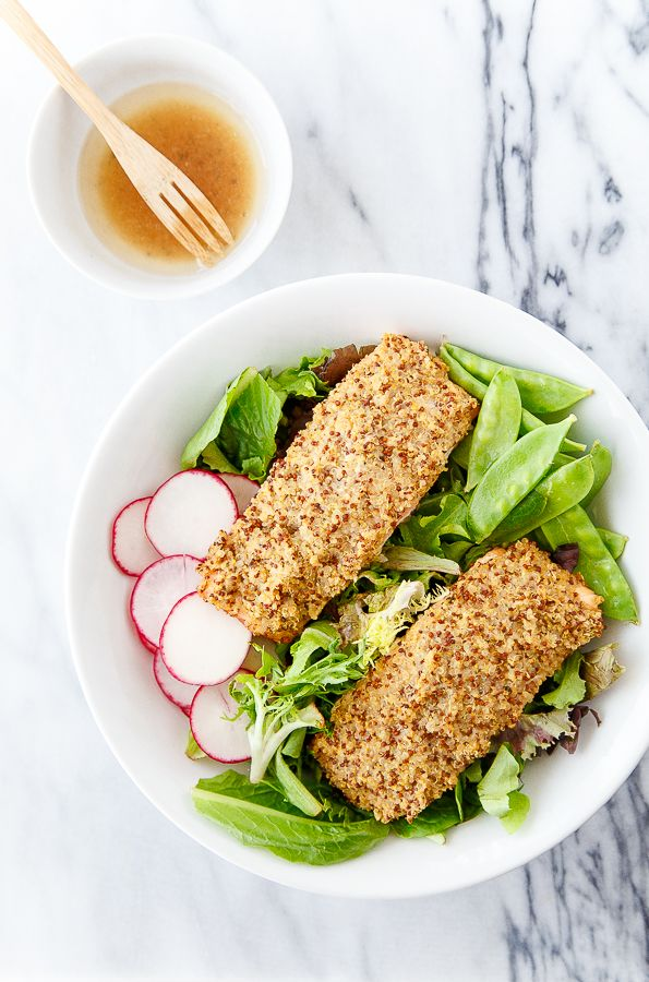 Quinoa crusted salmon salad @dessertfortwo