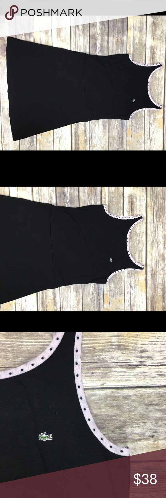 Lacoste Deep V Wrap Back A Line Dress This wrap back a line dress is black with polka dot trim. A perfect weekend dress, simple but with some interest and way comfortable. Lacoste Dresses