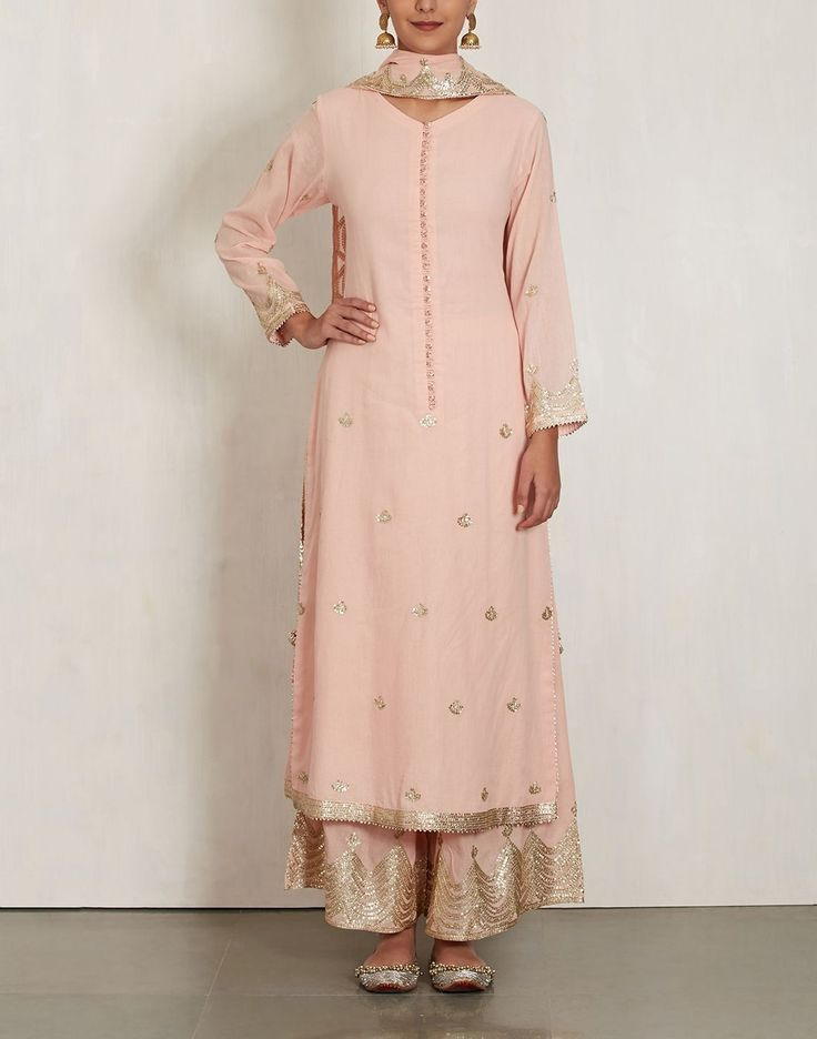 sukriti akriti light pink long kurta w plazzo & dupatta all in cotton mul. with sequin gold work