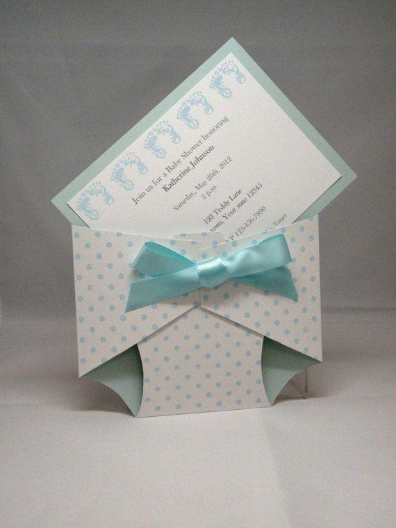 Diaper Baby Shower Invitation Announcement Baby Girl or Boy via Etsy
