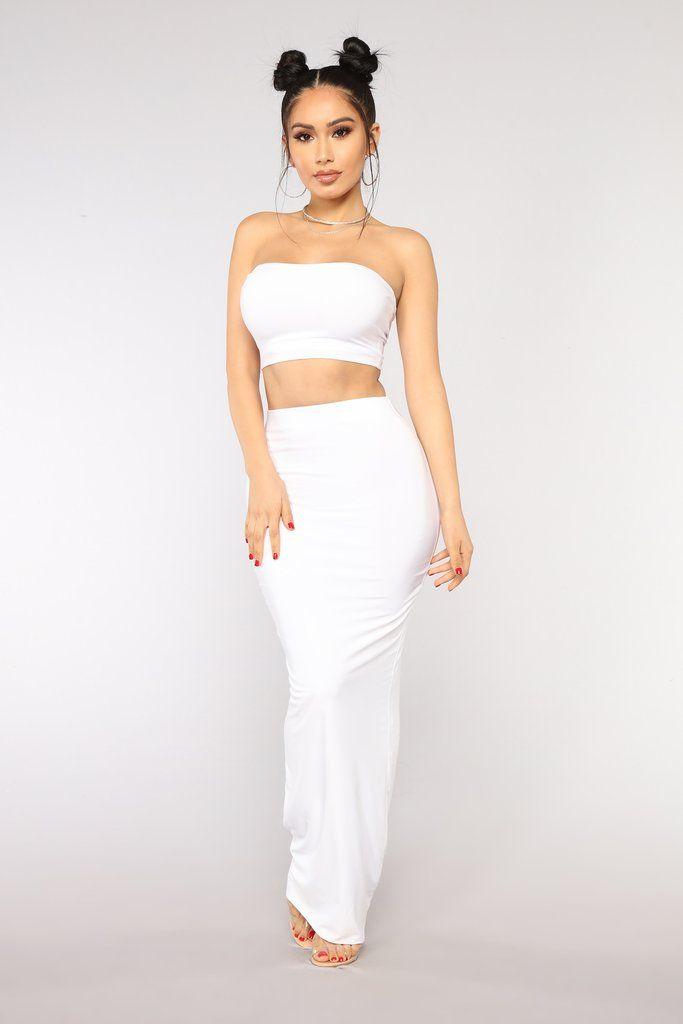 09351e60ce13 Des Skirt Set - White   #NOVABABE   Fashion outfits, Skirt outfits ...