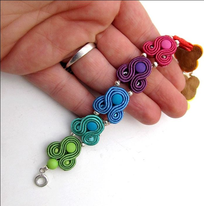 Long Colorful Dangle Earrings , Handmade Soutache Earrings