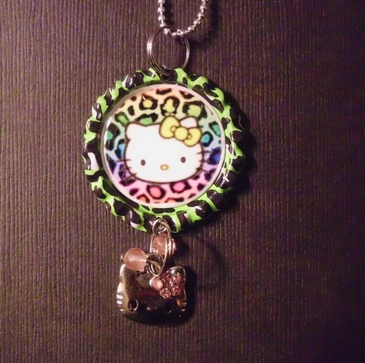 Kitty Bottle Cap Charm Necklace