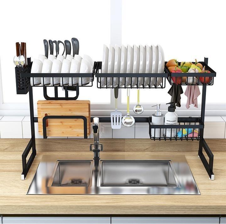 Stainless Steel Kitchen In 2020 Stainless Steel Kitchen Shelves Kitchen Sink Rack Kitchen Organization Diy