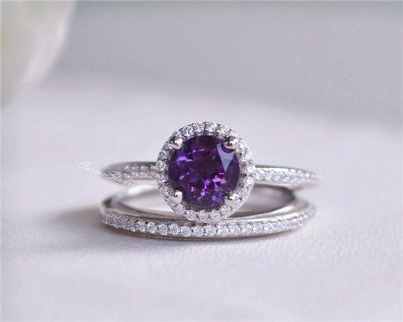 Amethyst Ring Set Amethyst Engagement Ring Set Wedding Ring High Quality Sterling Silver Ring Set Pr Amethyst Ring Engagement Purple Jewelry Purple Rings