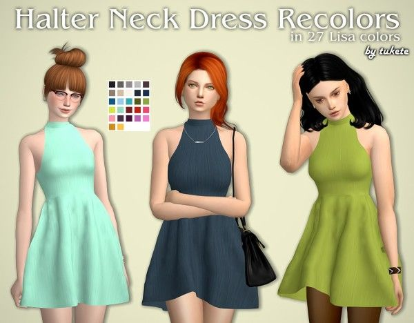 Tukete: Halter Neck Dress • Sims 4 Downloads