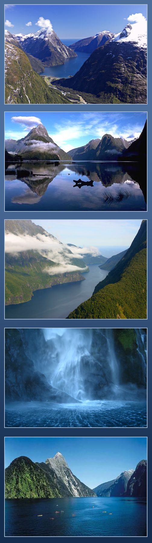 "Milford Sound, New Zeland - Milford Sound or ""Piopiotahi"" in Maori is a deep, icy waterway running 15km inland from the Tasman Sea and is part of the Fiordland National Park in New Zealand. The name ""Piopiotahi"" which means place of singing thrush comes from a Maori legend. This majestic landscape of spectacular beauty and natural grandeur is surrounded by sheer rock walls and sports two permanent waterfalls, Lady Bowen Falls and Stirling Falls #monogramsvacation"