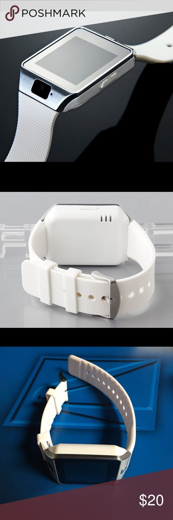 Luxurious Smart Watch • Compatible with iPhone and Android operating systems. • SIM Card: Single SIM Card (Micro SIM Card) Can be as a phone • Bluetooth: Bluetooth 3.0 • Storage: RAM 128M, ROM 64M; External memory: Support TF card up to 32GB • Display: 1.56 inch TFT LCD, 240 x 240 pixels • Camera: 0.3M • Music: Support • Picture Format: JPEG, GIF, BMP, PNG • Music Format: MP3, WAV • Languages: English, Spanish, Arabic, Portuguese, Russian Accessories Watches