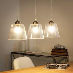 Lámpara de techo triple de cristal y metal cromado An. 65 cm NELSON