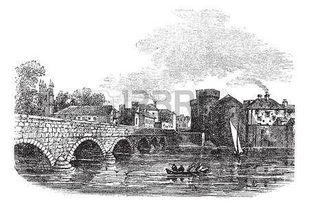 Thomond мост и Замок короля Джона, Лимерик, Ирландия старинные гравированные иллюстрации. Trousset энциклопедии (1886 - 1891). photo