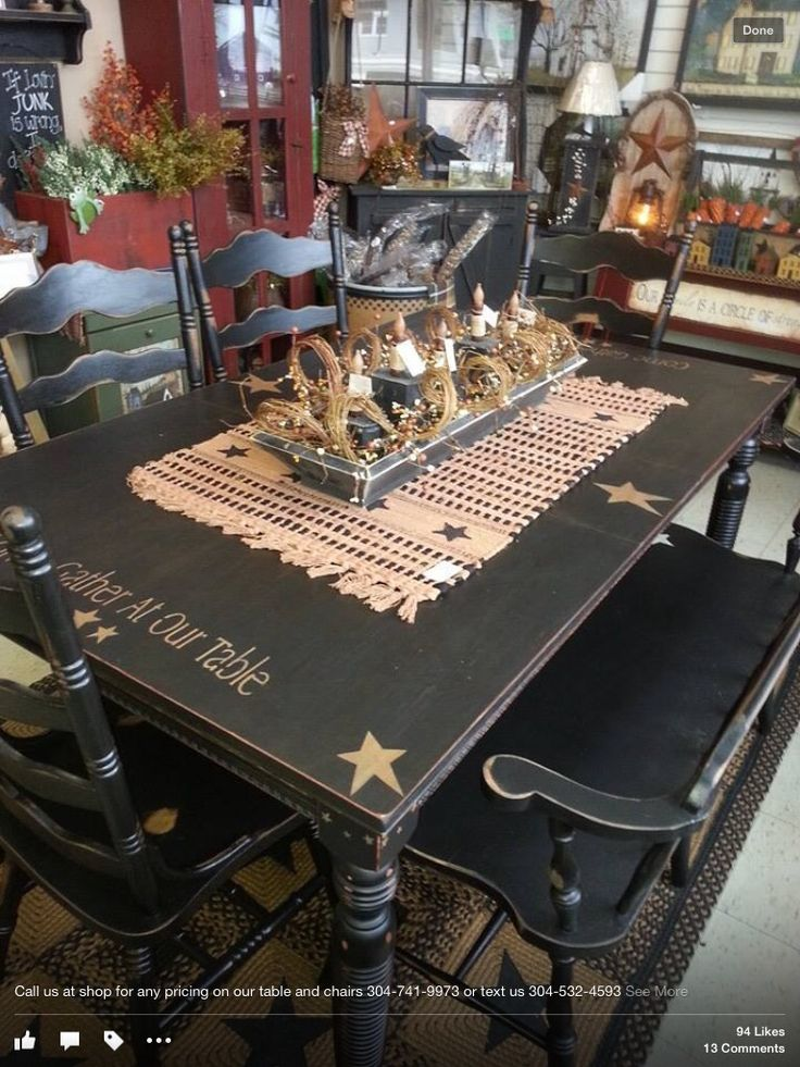"Primitive table,love the bench seat! I would have to go ""old white""!!!"
