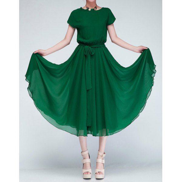 Solid Color Stunning Scoop Neck Batwing Sleeveless Women's Chiffon Dress, GREEN, L in Chiffon Dresses | DressLily.com