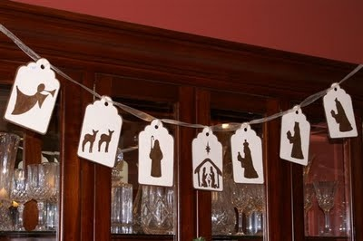 nativity banner, could print service ideas on back of each picture and hang when each service is completed.  This would be sweet if pictures were drawn by a child.