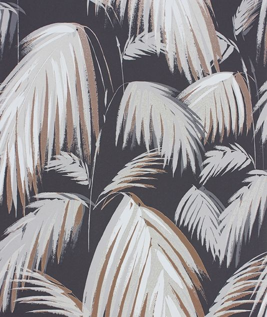 Tropicana Wallpaper A distinctive wallpaper with stylised palm leaves in shades of beige with metallic bronze highlights on a contrasting dark grey ground.