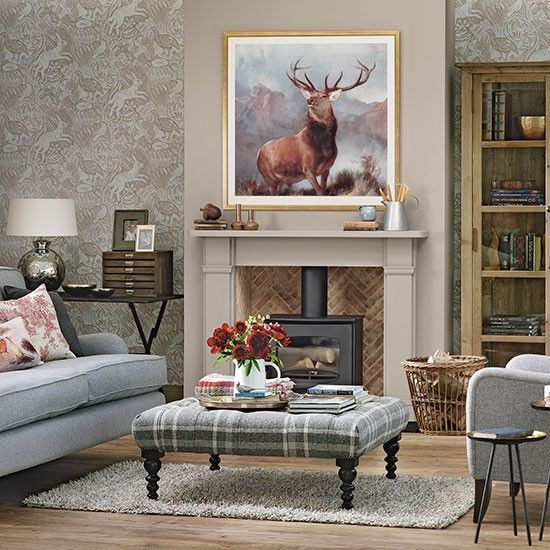 Woodland theme country living room - St Judes harvest hare wallpaper!! Love It!!