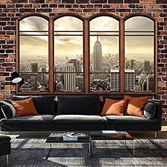 murando - Fototapete Fenster nach New York 350x245 cm - Vlies Tapete - Moderne Wanddeko - Design Tapete - Wandtapete - Wand Dekoration - New York Fenster NY City Stadt d-A-0055-a-a