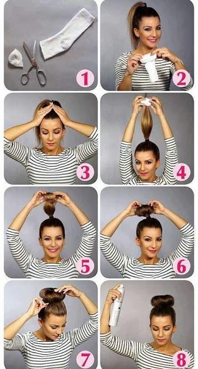 Hair Styles tutorial to makea bun with sock