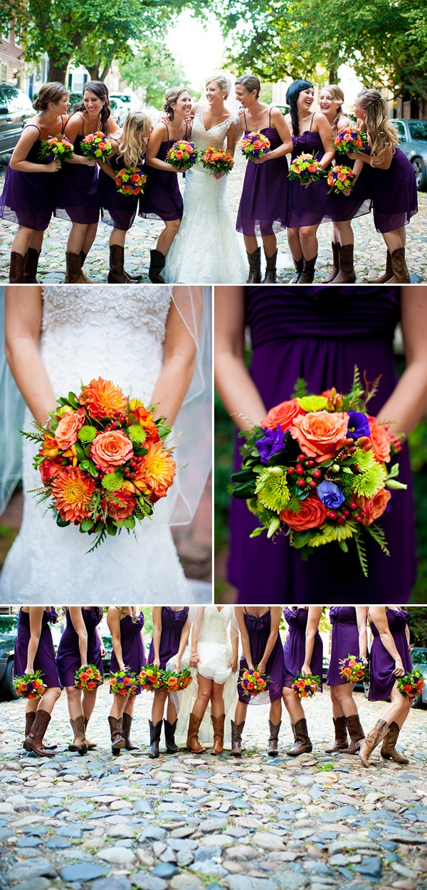 Like the wedding dress and she put her girls in purple and fall colors in the bouquets