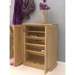 Mobel Oak Solid Oak Shoe Cupboard