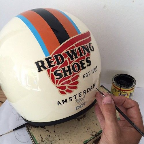 We take you everywhere! From Red Wing Minnesota we take you over to London. Our dear friend Eddy @eddyartist is working on a customized sign painted motorcycle @biltwell helmet for the Red Wing Shoe Store Amsterdam!! Sooo excited for the end result!...