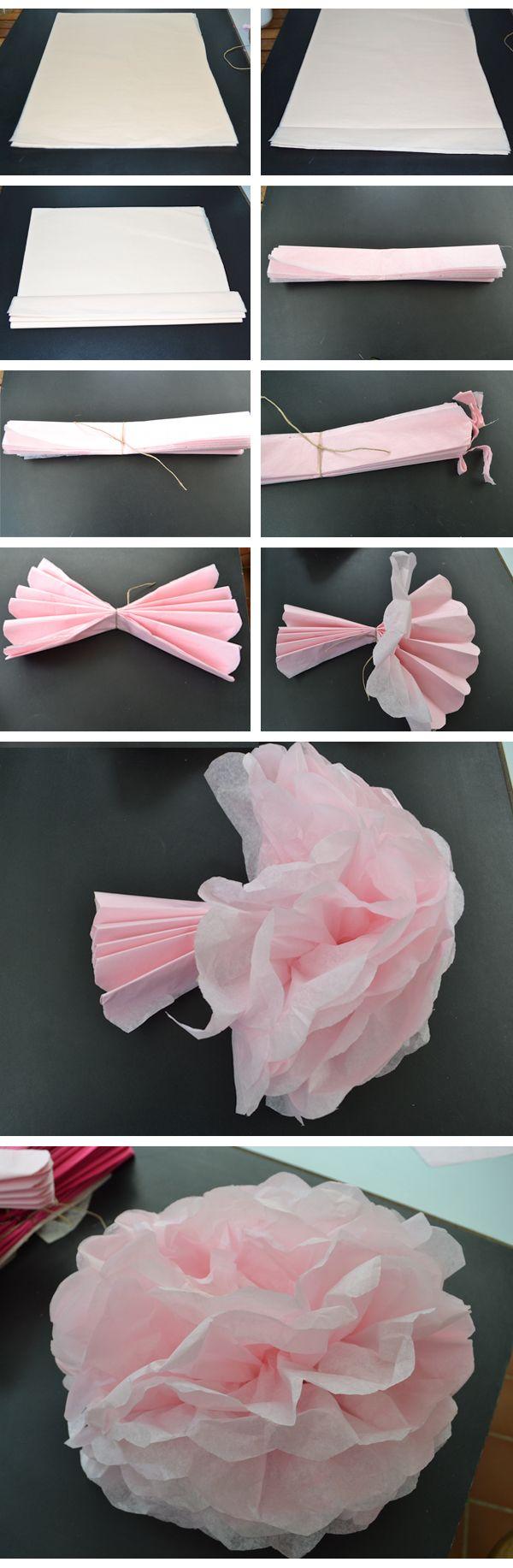 DIY : Pompons de soie | DIY Mariage |  Avec une rame de 500 feuilles j'ai fait une centaine de pompons de toutes les tailles