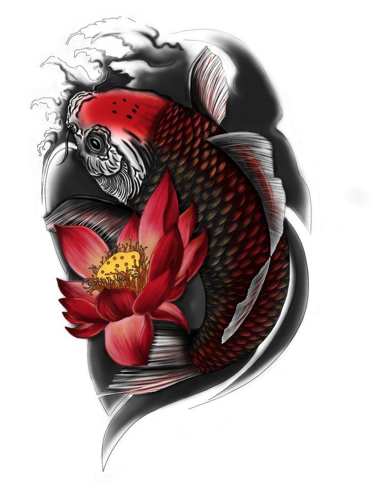 Resultado de imagen para tatuajes pez koi negro gym