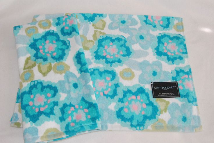 CYNTHIA ROWLEY FLORAL TURQUOISE AQUA PINK GREEN HAND TOWELS - SET OF 2 - NEW #CynthiaRowley