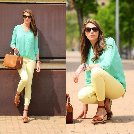 Pull & Bear Mint Blouse, Pull & Bear Yellow Leggins, Zara Brown Leather Bag, Stradivarius Gladiator Sandals