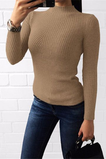 Khaki Perkins Collar Long Sleeves Bodycon Jumper - US$21.95 -YOINS