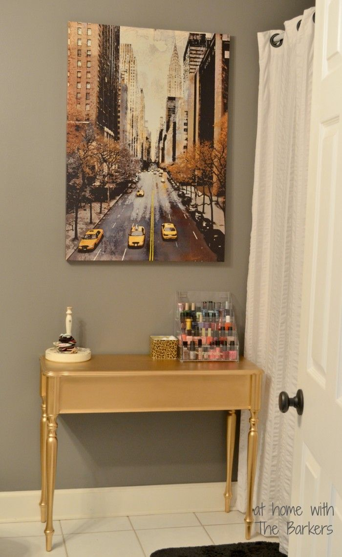 metallic spray paint; DIY Gold Painted Table-Metallic Gold