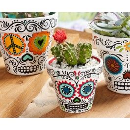 Plaid Daisy Eyes Sugar Skull Planters