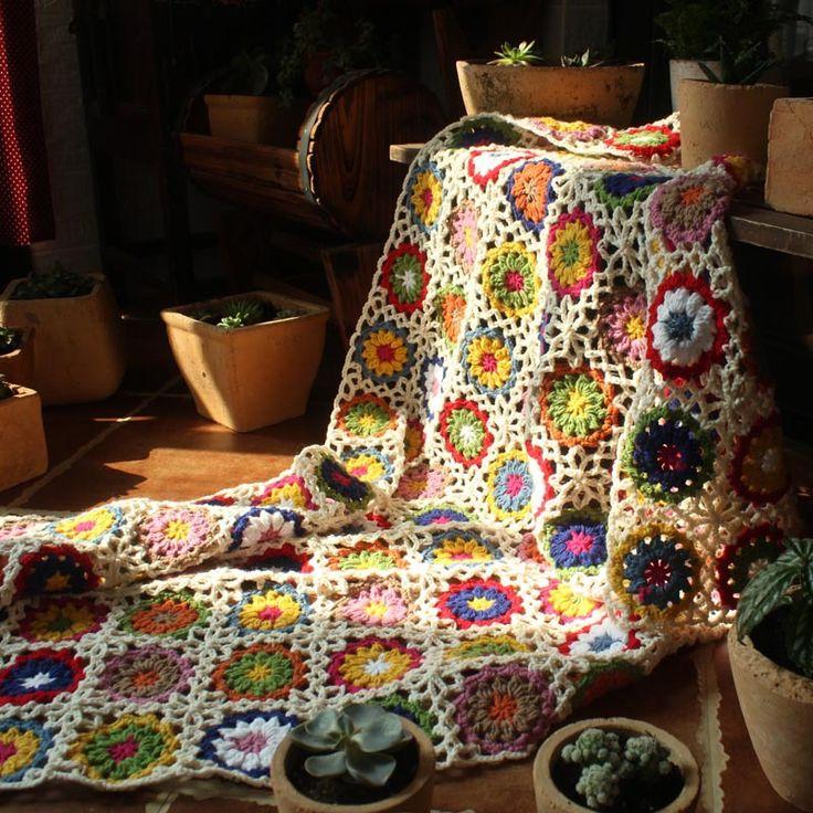 Новый Ретро Ромашка Ручной Шерстяные вязаные Спальный одеяло Диван-Кровать Случайный Сон Бросить Стол Мода Вязаные Одеяла