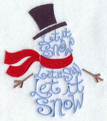 "machine embroidery snowman pattern ""Let It Snow"""