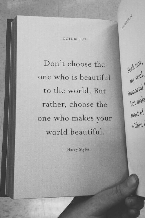 Don't choose the one who is beautiful to the world...