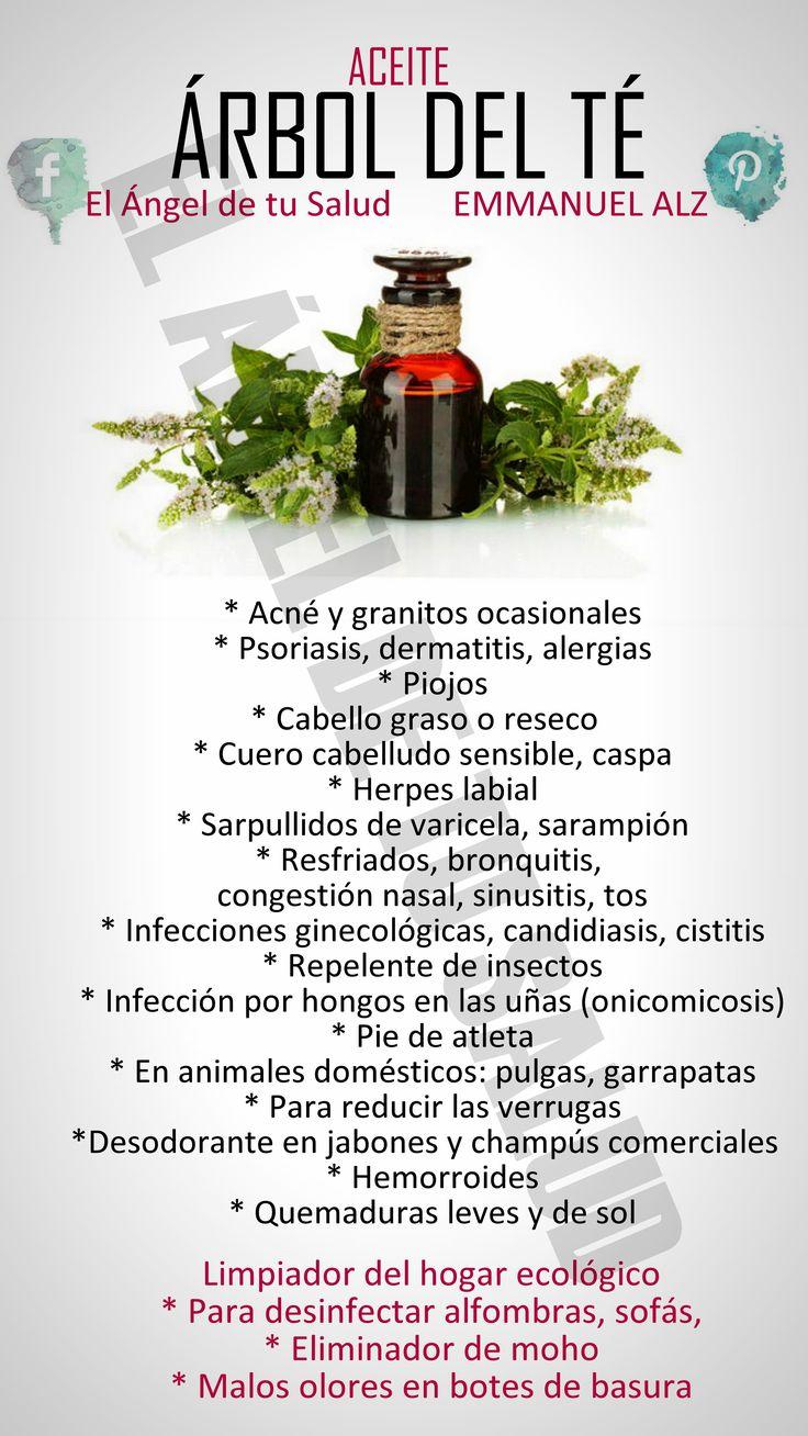 ACEITE DEL ÁRBOL DE TÉ MODO DE USO: El aceite esencial de árbol de té fortalece el sistema inmunológico, por lo que se utiliza en hornillos de aromaterapia para eliminar las bacterias en el ambiente. · Compresas: Colocar de 3 a 5 gotas de aceite esencial de árbol de té bolso de agua caliente o fría, según indicación. Remojar en un paño o sobre un algodón y aplicar sobre el área afectada. Puede aplicarse con un hisopo una gota directamente sobre granos o forúnculos. · Baños de inmersión…