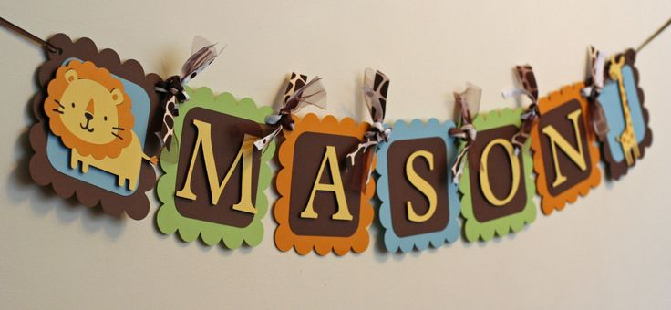 Jungle Safari Animal Name Banner, Jungle Baby Shower, Safari Shower, Jungle Birthday, Safari Birthday. $20.00, via Etsy.