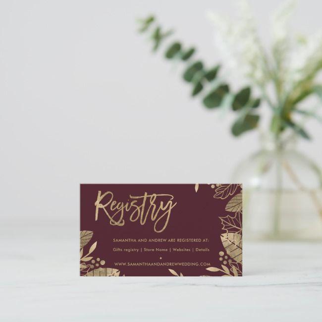 Goldblätter fallen schicke rote Hochzeitsregister-Einschließungskarte | Zazzle   – Funny Card