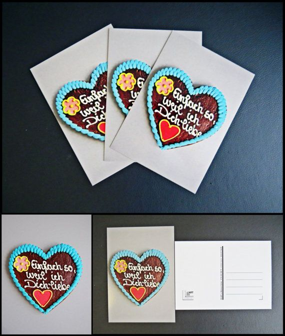 "Postcard: ""Just like that, because I love you"" gingerbread heart"