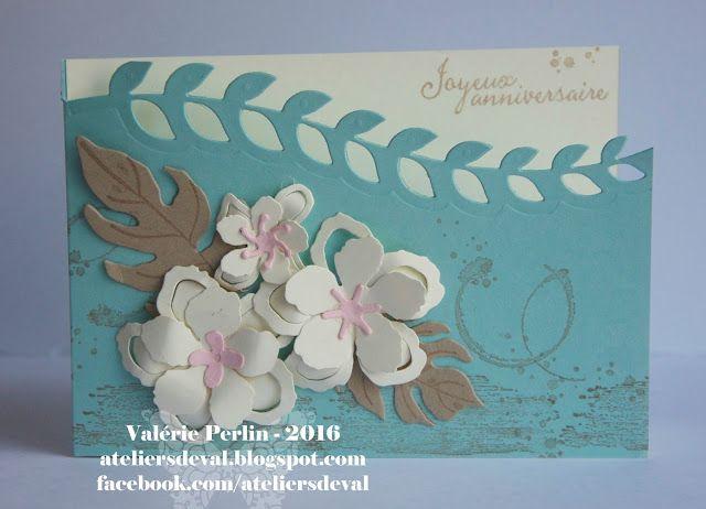 Les Ateliers de Val: Carte d'anniversaire aux fleurs exotiques
