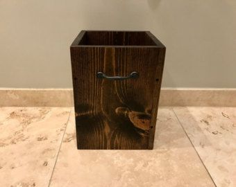 Wooden Trash Can   This is a handmade trash can. Great size for a bathroom, office, bedroom or any other place where you need small, convenience garbage can. Square shape with beautiful but simple in the same time two handlers on both sides and visible screws as a decorative element. It can be a great addition to our light fixtures or bathroom sets.  https://www.etsy.com/shop/Lightrooom   ITEM DETAILS: - overall dimensions 10 W x 14 H x 13 D - 4 gallons size - 2 handles - ...