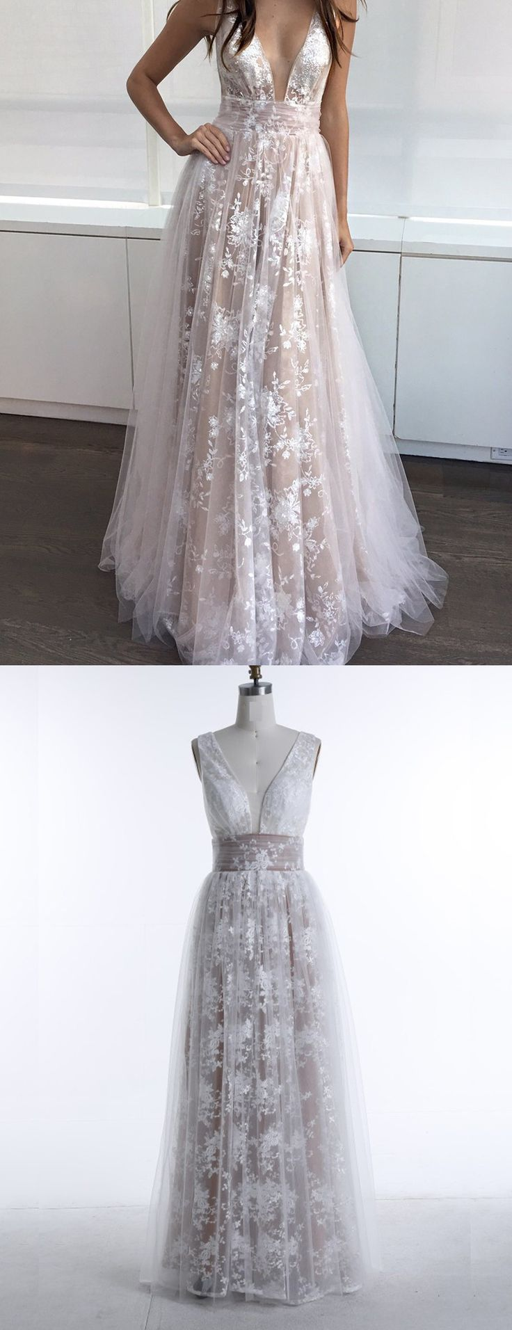 Deep V-Neck Prom Dresses,Sleeveless Prom Dress,Appliques Prom Dress,Champagne Prom Gowns, Fashion Prom Dresses,Lace Prom Dress,Sexy Prom Gowns,Floor Length Prom Dresses