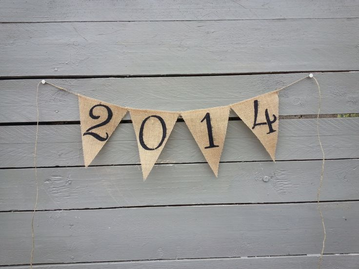 2014 - New years burlap banner, holiday banner. $16.00, via Etsy.