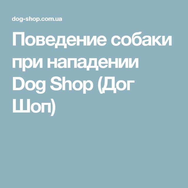Поведение собаки при нападении Dog Shop (Дог Шоп)