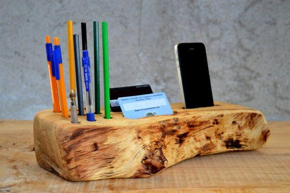 Poplar Wood Desk Organizer Rustic Wooden Office Organizer