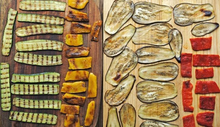 Italian antipasti for an Australian Christmas - eggplant, zucchini and pepper rolls